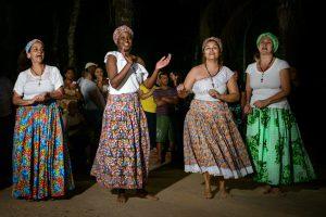 Umbanda women during jongo dance performance, Brazil